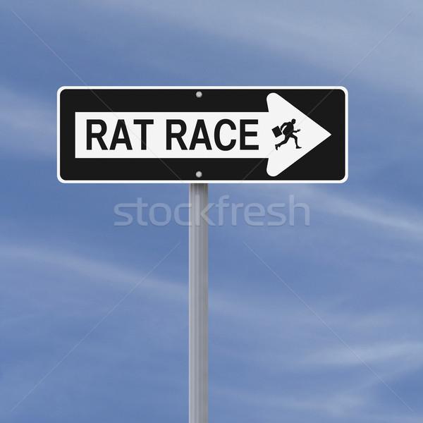 Patkány verseny üzlet felirat égbolt üzletember Stock fotó © lorenzodelacosta