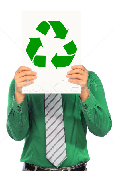 Verde homem camisas reciclar símbolo Foto stock © lorenzodelacosta