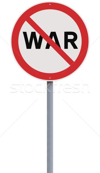 Nie wojny znak drogowy czerwony wojskowych białe tło Zdjęcia stock © lorenzodelacosta