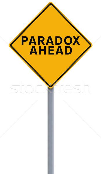 önde yol işareti sarı tehlike yalıtılmış beyaz arka plan Stok fotoğraf © lorenzodelacosta