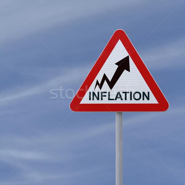 Inflation up panneau routier tendance affaires Photo stock © lorenzodelacosta