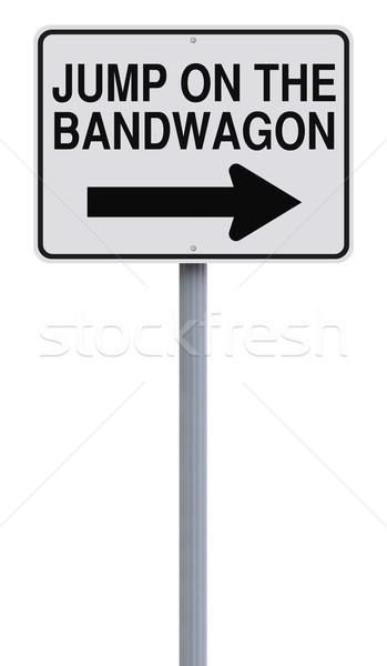 Ugrás egyirányú utca jelzőtábla ötlet irányítás figyelmeztetés Stock fotó © lorenzodelacosta