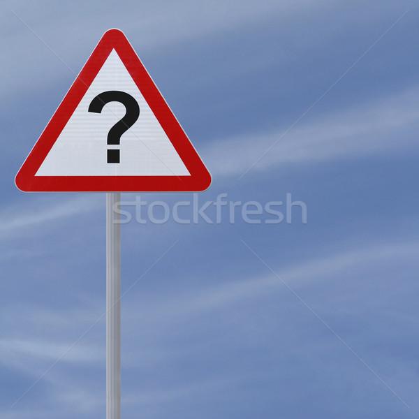 дорожный знак вопросительный знак неизвестный опасность вниз Сток-фото © lorenzodelacosta
