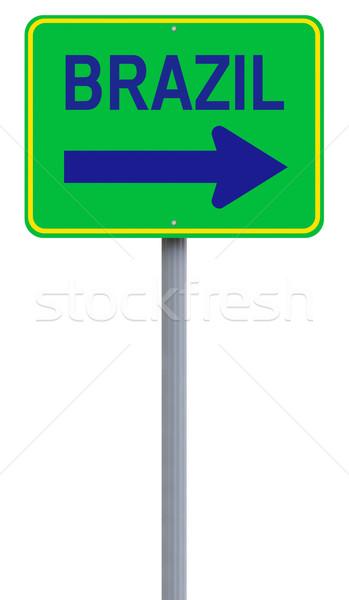 Сток-фото: Бразилия · знак · зеленый · дорожный · знак