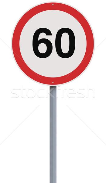 Altmış hız limiti imzalamak numara hızlandırmak yol işareti Stok fotoğraf © lorenzodelacosta