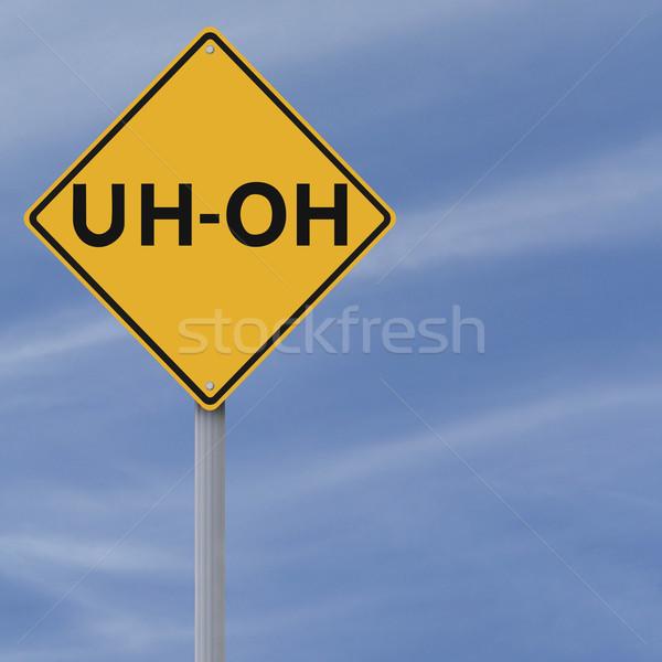 дорожный знак ошибка беспокойство знак синий желтый Сток-фото © lorenzodelacosta