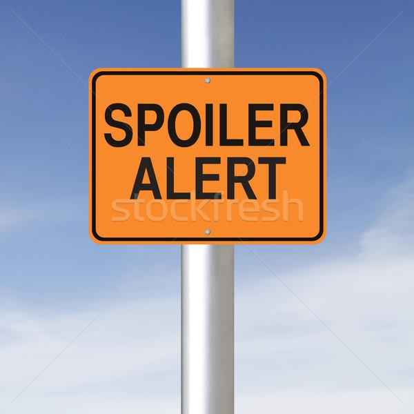 Alertar placa sinalizadora aviso céu laranja cautela Foto stock © lorenzodelacosta