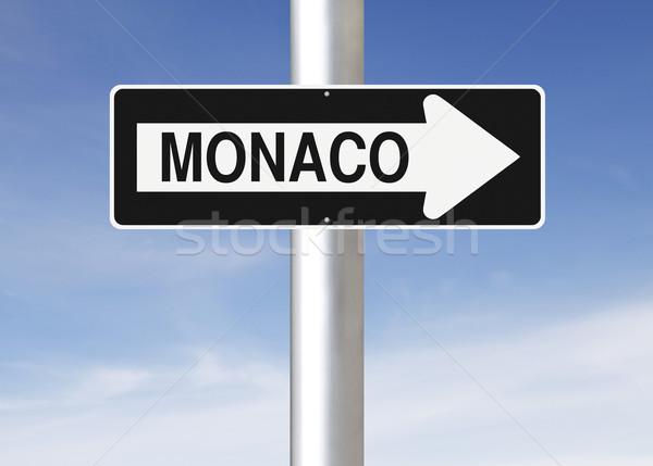 Erre Monaco egyirányú utca város felirat kék Stock fotó © lorenzodelacosta