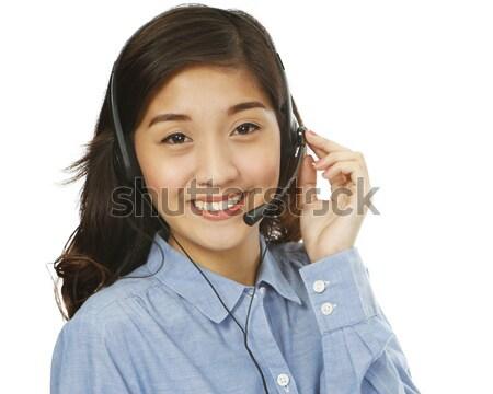 Boldog segítség fiatal mosolygó nő visel headset Stock fotó © lorenzodelacosta