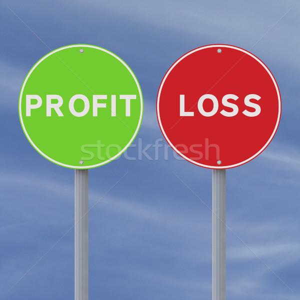 Beneficio pérdida las senales de tráfico cielo signo verde Foto stock © lorenzodelacosta