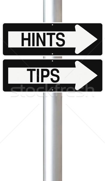 Porady w jedną stronę znaki arrow wsparcia znak drogowy Zdjęcia stock © lorenzodelacosta