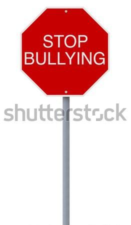 Stop megfélemlítés stoptábla ötlet erőszak fehér háttér Stock fotó © lorenzodelacosta