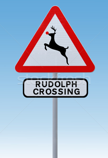 Rudolph Crossing Christmas Road Sign  Stock photo © lorenzodelacosta