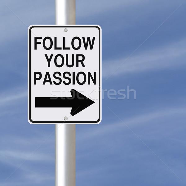 страсти дорожный знак карьеру совет небе мечта Сток-фото © lorenzodelacosta