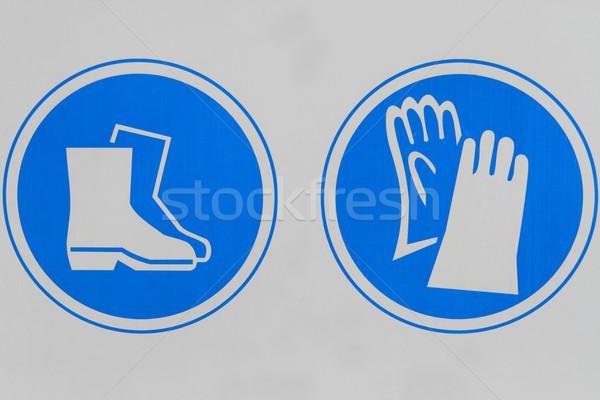 Veiligheid teken tonen bouwplaats bescherming laarzen Stockfoto © lorenzodelacosta