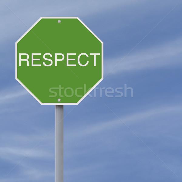 Rispetto stop verde blu fiera cartello stradale Foto d'archivio © lorenzodelacosta