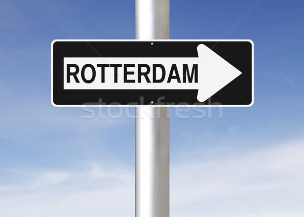 Rotterdam Hollanda imzalamak mavi Stok fotoğraf © lorenzodelacosta