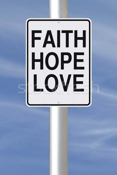 Fe esperanza amor senalización de la carretera cielo signo Foto stock © lorenzodelacosta