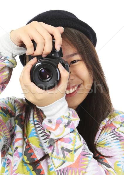 Stockfoto: Kaas · glimlachend · tiener · camera · logos