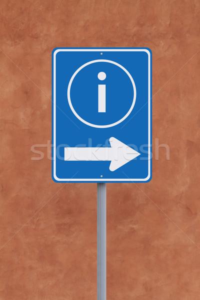 Információ erre jelzőtábla szimbólum segítség nyíl Stock fotó © lorenzodelacosta