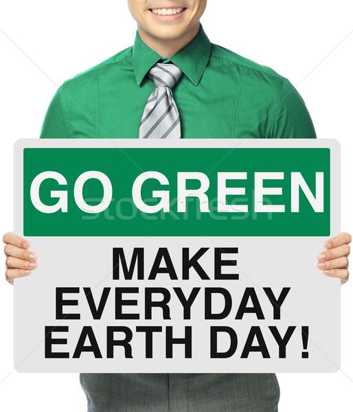 Dia da terra cotidiano homem assinar ambiental Foto stock © lorenzodelacosta