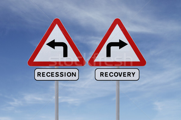 рецессия дорожных знаков экономический бизнеса небе Сток-фото © lorenzodelacosta