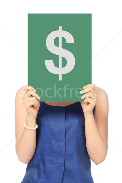 Dinheiro mulher traje de negócios cifrão Foto stock © lorenzodelacosta