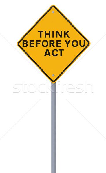 Sicurezza promemoria cartello stradale isolato bianco Foto d'archivio © lorenzodelacosta