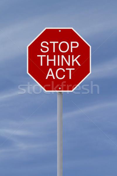 Stok fotoğraf: Durdurmak · düşünmek · hareket · dur · işareti · güvenlik · hatırlatma