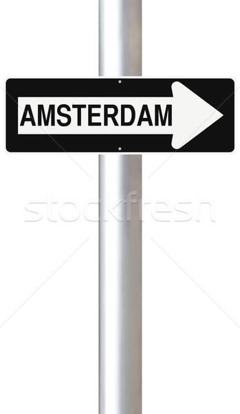 Erre Amszterdam egyirányú utca felirat Európa irányítás Stock fotó © lorenzodelacosta
