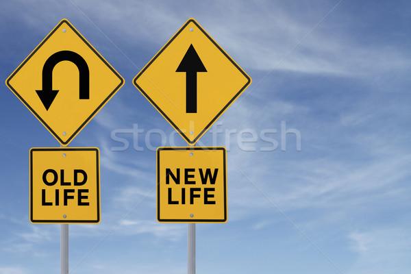 Сток-фото: старые · новых · дорожный · знак · изменений · жизни