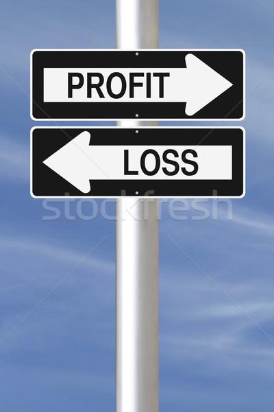 Nyereség veszteség egyirányú utca feliratok égbolt Stock fotó © lorenzodelacosta