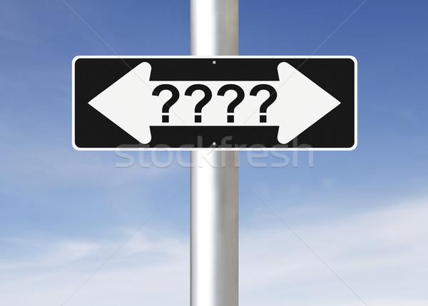 Confusão tomada de decisão céu placa sinalizadora conceito Foto stock © lorenzodelacosta