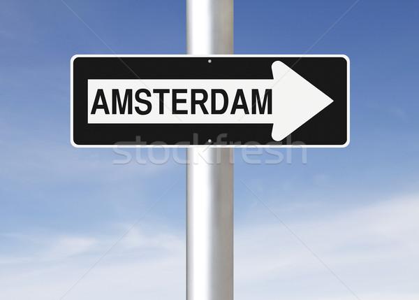 Erre Amszterdam egyirányú utca felirat kék nyíl Stock fotó © lorenzodelacosta
