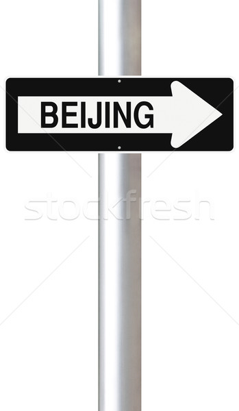 Erre Peking egyirányú utca város felirat irányítás Stock fotó © lorenzodelacosta
