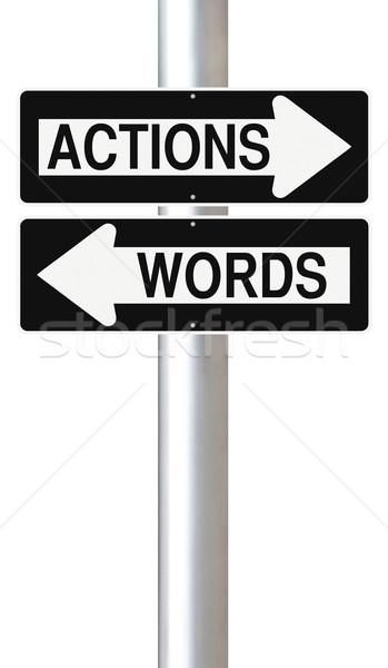 Szavak egyirányú utca feliratok beszéd jelzőtábla Stock fotó © lorenzodelacosta