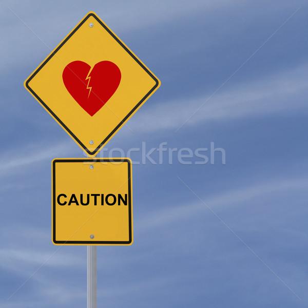 Figyelmeztető jel jelzőtábla figyelmeztetés felirat kék gyémánt Stock fotó © lorenzodelacosta