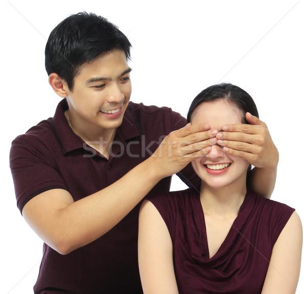 Odgadnąć atrakcyjny para ręce człowiek Zdjęcia stock © lorenzodelacosta