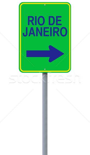 Сток-фото: Рио-де-Жанейро · знак · зеленый · дорожный · знак