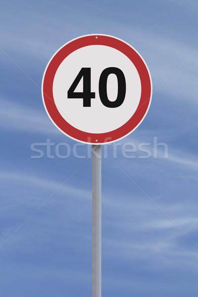 Quarante panneau routier limite de vitesse bleu vitesse avertissement Photo stock © lorenzodelacosta