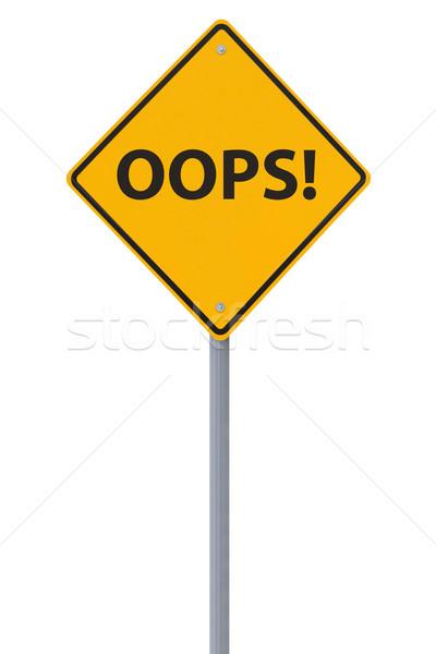 Oops verkeersbord geïsoleerd witte achtergrond teken Stockfoto © lorenzodelacosta
