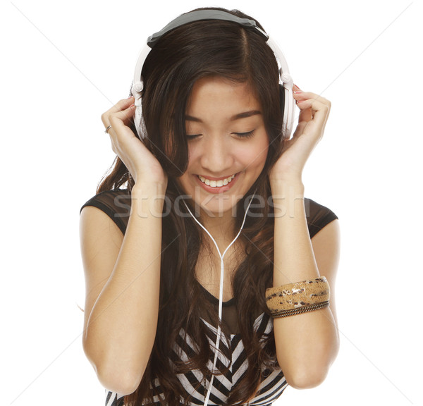 音楽 小さな 女性 音楽を聴く 孤立した ストックフォト © lorenzodelacosta
