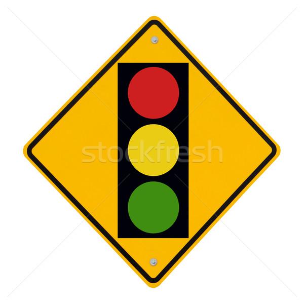 светофора впереди дорожный знак предупреждение изолированный белый Сток-фото © lorenzodelacosta