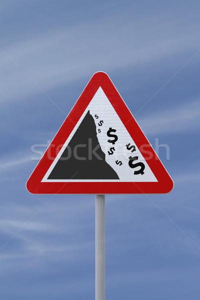 Figyelmeztető jel jelzőtábla ősz dollár valuta üzlet Stock fotó © lorenzodelacosta