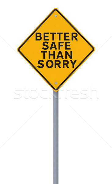 Güvenlik hatırlatma yol işareti yalıtılmış beyaz Stok fotoğraf © lorenzodelacosta