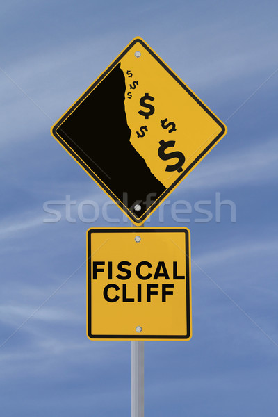 Fiscale klif verkeersbord tonen dollar valuta Stockfoto © lorenzodelacosta