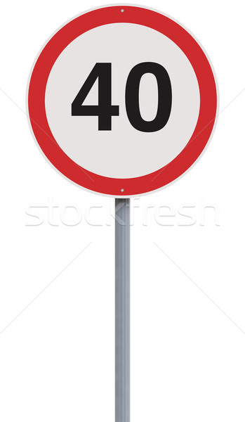 Quaranta cartello stradale limite di velocità velocità allarme isolato Foto d'archivio © lorenzodelacosta