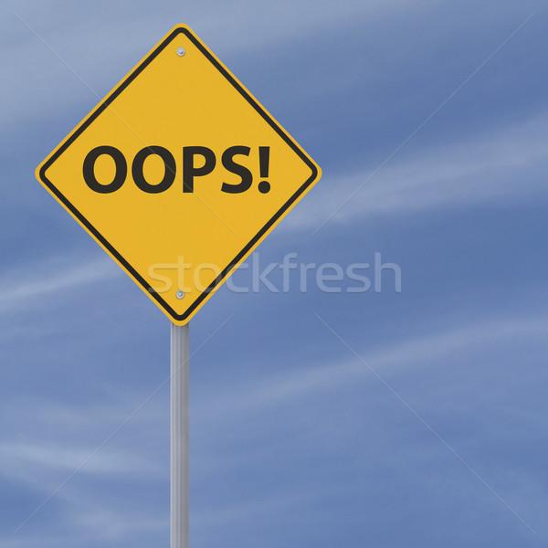 Oops placa sinalizadora blue sky assinar azul diamante Foto stock © lorenzodelacosta