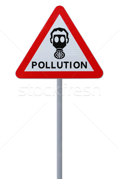 Pollution panneau routier avertissement isolé blanche Photo stock © lorenzodelacosta