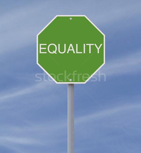 平等 一時停止の標識 空 緑 正義 道路標識 ストックフォト © lorenzodelacosta